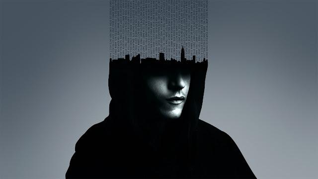 Cartel promocional de Mr Robot, con una imagen del protagonista y su mente desconstruida