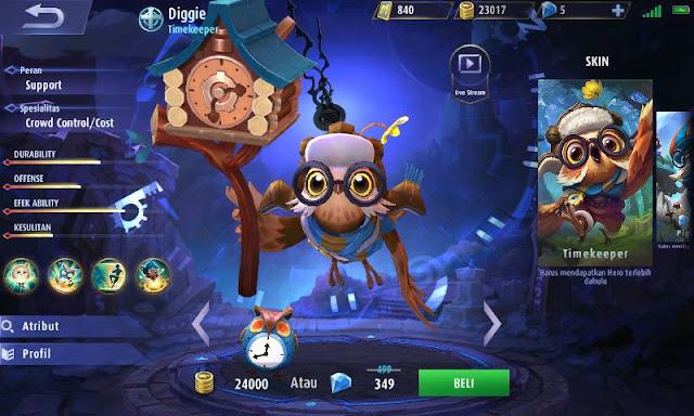 Build item Diggie Mobile legends