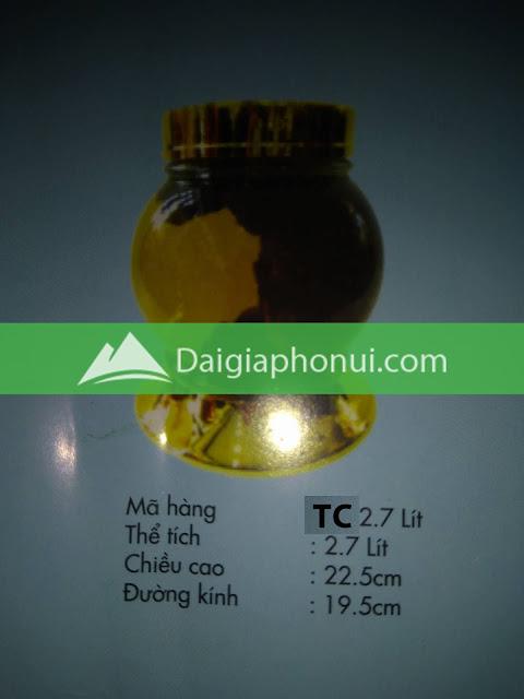 thông số bình ngâm rượu Phú Hoà mã số TC 2.7 LÍT