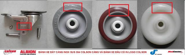 Bánh xe PU càng inox Colson Mỹ cho xe đẩy thủy sản tại Đồng Tháp www.banhxedayhang.net