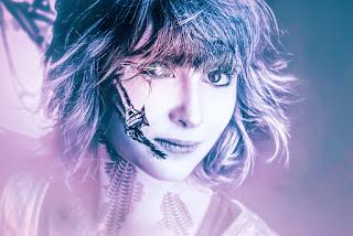 cyborg lady, face, porträt, bildbearbeitung