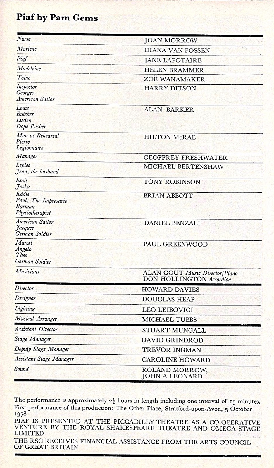 Remembrances of Performances Past: Playbills and Memories from a