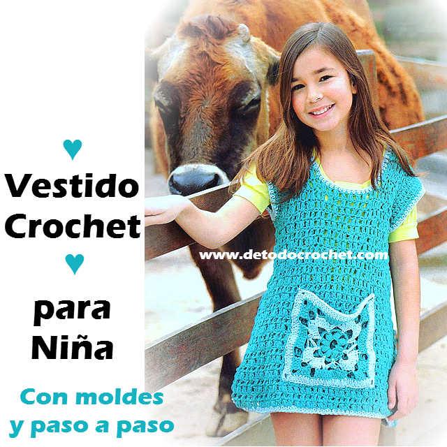 Vestido con manga japonesa al Crochet para Niñas / Moldes y Paso a ...