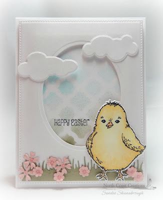 North Coast Creations Stamp Set: Hey Chickie, North Coast Creations Custom Die: Chick, Our Daily Bread Designs Custom Dies:: Pierced Rectangles, Ovals, Clouds and Raindrops, Boho Background, Grass Lawn, Pretty Posies, Easter Eggs