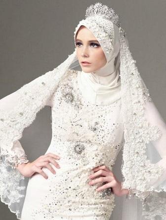Model Kebaya Muslim Modern Warna Putih Untuk Pesta Pernikahan