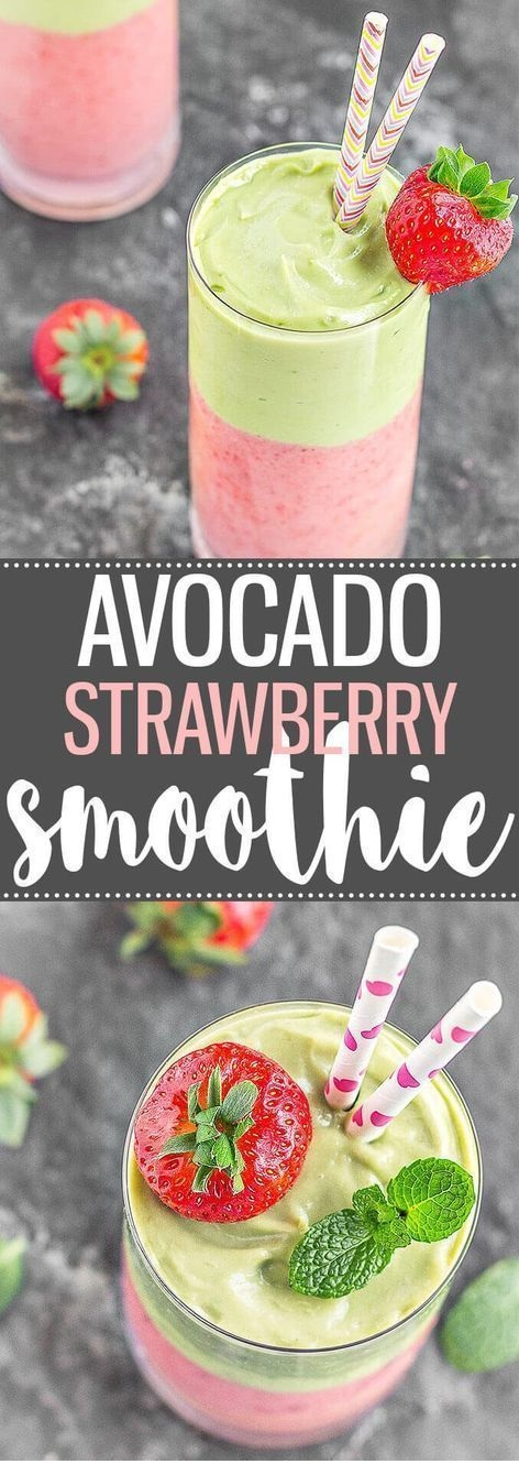 Avocado Strawberry Layered Smoothie