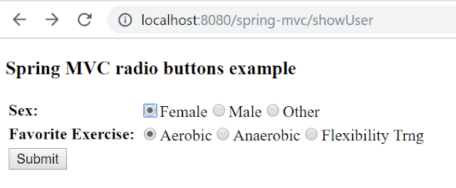 Spring form tag library radiobuttons tag
