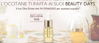 Logo L'Occitane : in omaggio Olio Divine da 4 ml
