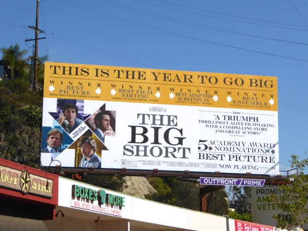 Big Short Oscar consideration billboard