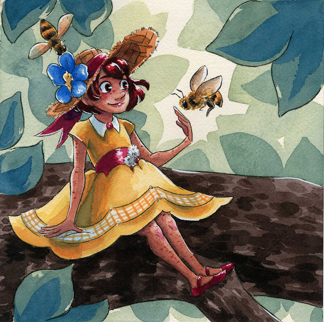 Sennelier watercolor, kidlit art