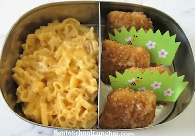 Chicken nuggets, mac & cheese sent warm for school lunch