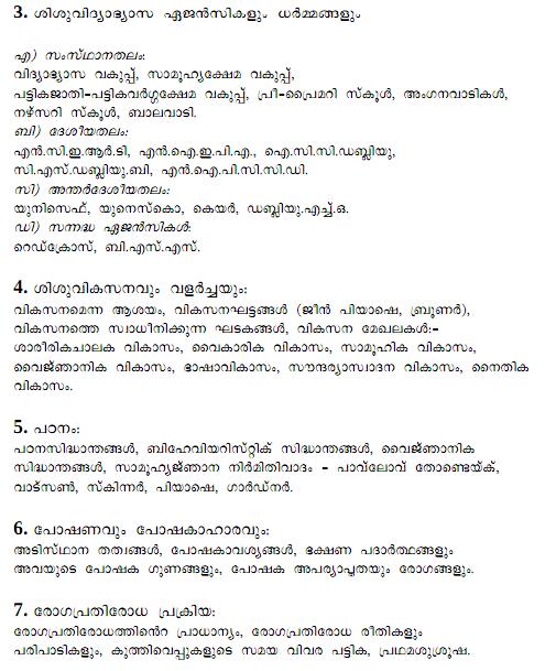 NURSERY SCHOOL TEACHER | DETAILED SYLLABUS of Kerala PSC Examinations