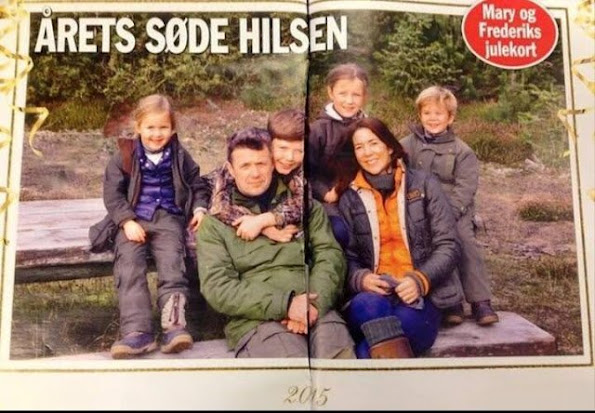 Crown Princess Mary and Prince Frederik, Prince Vincent, Prince Christian, Princess Isabella and Princess Josephine of Denmark 2015 Christmas Card Princess Jeweler, Dreses and Christmas gift diamond earrings, rings, diamond jewel