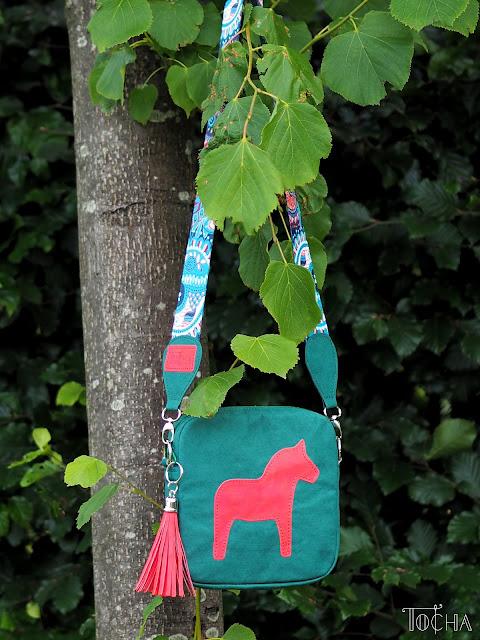 Dalahäst, green, orange, tassel, horse, mini messenger, Washpapa, washable paper, cross-body bag, vegan leather, PDF Sewing Patterns,