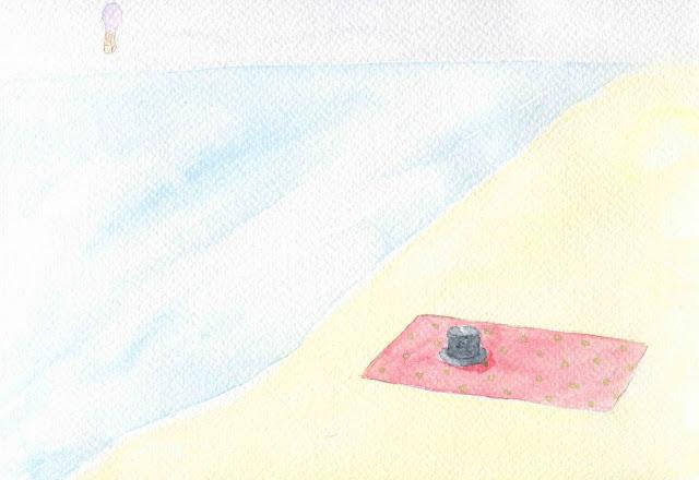 haut de forme oublié sur la plage