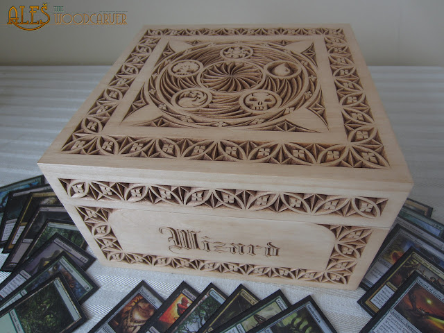 Ales the woodcarver large magic gathering card box