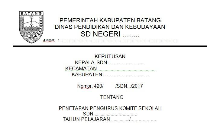 Contoh SK Komite Sekolah SD SMP SMA SMK Baik dan Benar