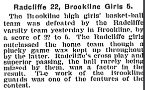 BHS - Radcliffe Basket Ball Game 1904
