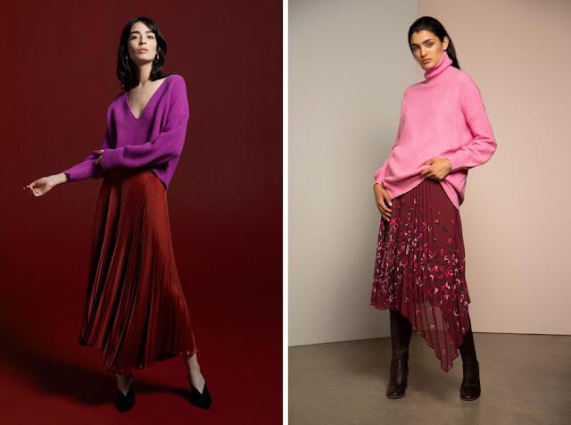 Красная плиссированная асимметричная юбка