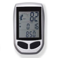 LCD console display shows RPM, time, speed, distance, calories burned, compatible with wireless chest heart-rate strap