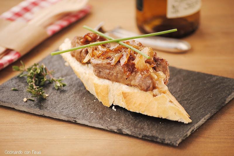 Montadito de filete caramelizado con brandy