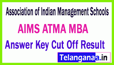 AIMS ATMA Association of Indian Management Schools MBA Answer Key Cut Off Result