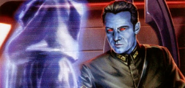 general thrawn chatting with a cloaked dude