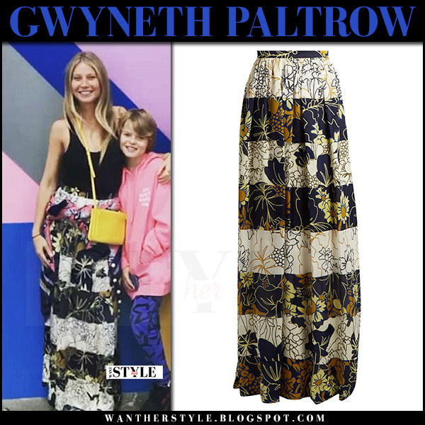Gwyneth Paltrow in striped floral print maxi skirt roksanda myla what she wore may 14 2017