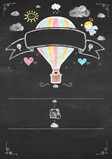 Hot Air Balloon for Girl in Chalkboard Background: Free Printable Infography Invitation.