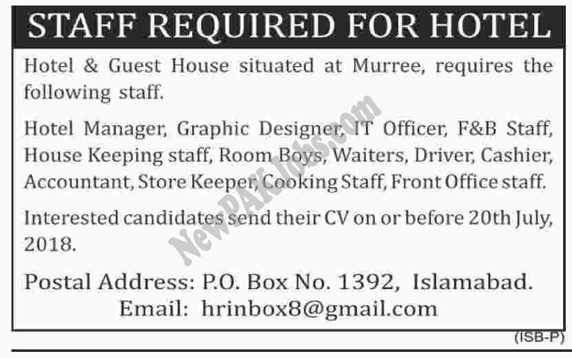 Staff Required for Hotel for Various Posts
