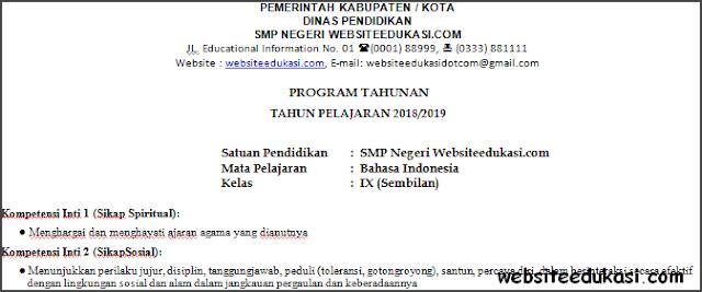 Prota Bahasa Indonesia Kelas 9 Kurikulum 2013 Terbaru
