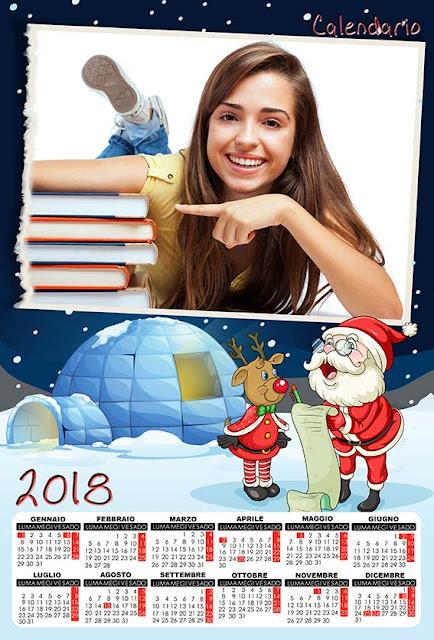 Calendario natalizio con spazio per 1 fotografia orizzontale
