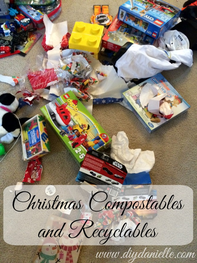 Holiday items that can be put in recycling and compost.