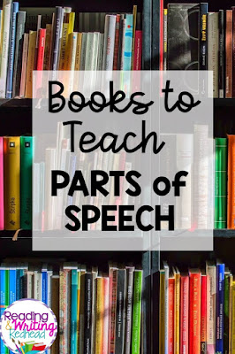 Pin for blog post Books to use when teaching parts of speech