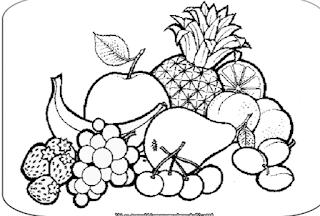 Sketsa Buah-buahan hitam putih menggunakan pensil