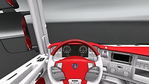 Red & White skin interior for Scania R
