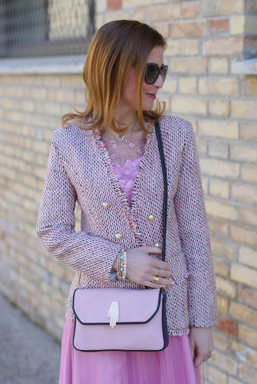 Chanel inspired jacket and Pink midi tulle dress for a romantic outfit on Fashion and Cookies fashion blog, fashion blogger style