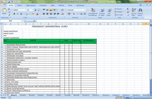 Perangkat Administrasi Guru Format Microsoft Excel