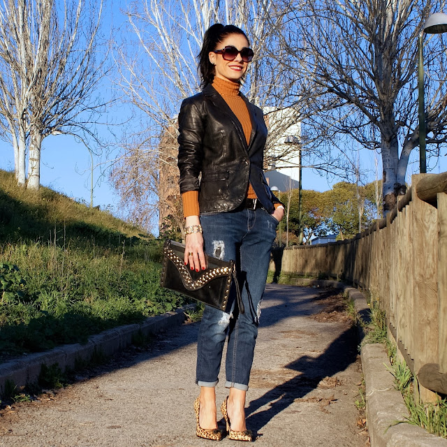 Blog moda, LOOK Tendencia mostaza, zapatos leopardo