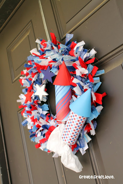 DIY Firecracker Rag Wreath via createcraftlove.com #wreath #fourthofjuly