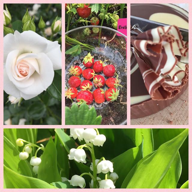 Rosenblüte, Erdbeeren, Schokoladengirolle, Maiglöckchen