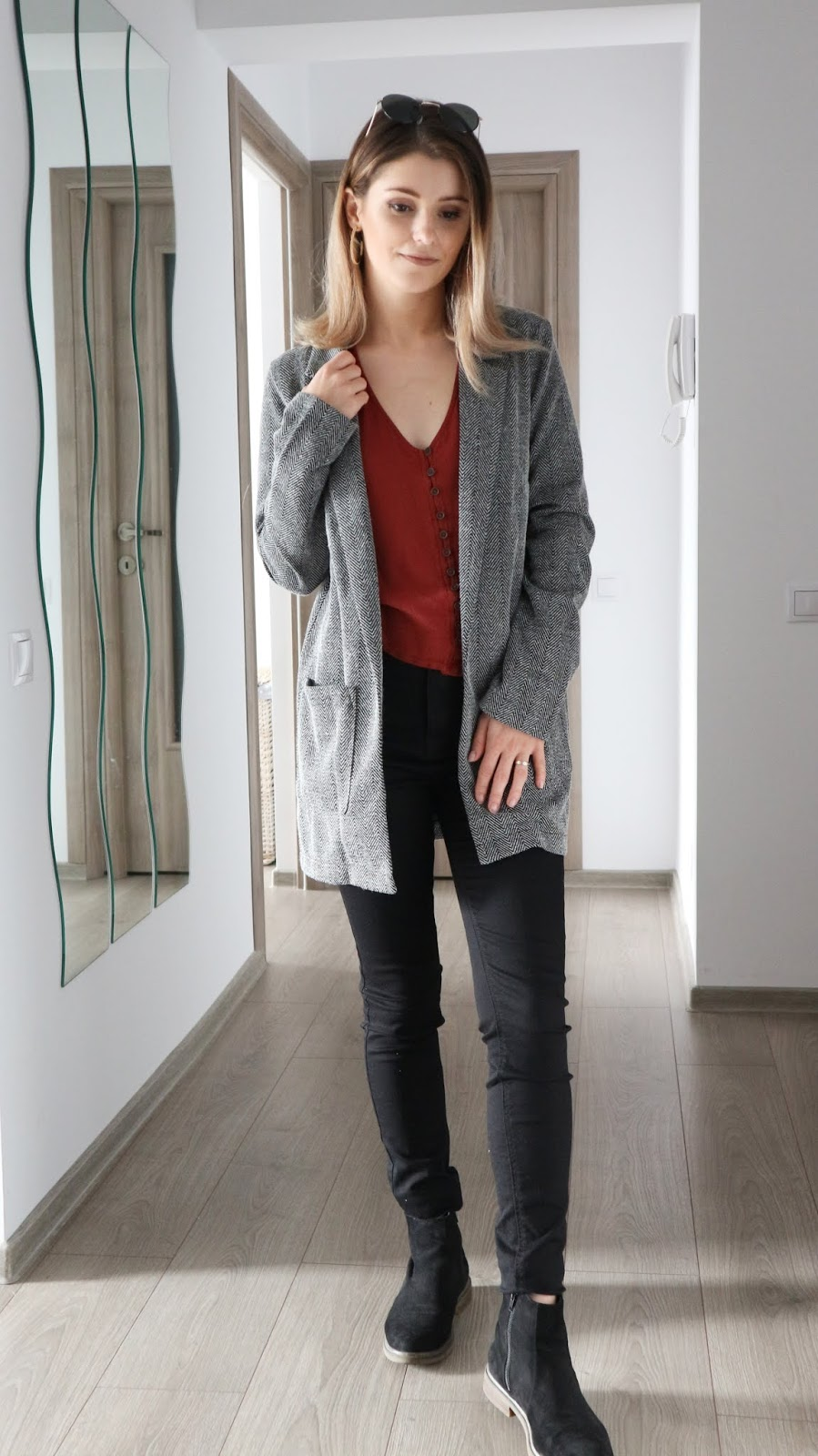 textured H&M blazer with black boots outfit
