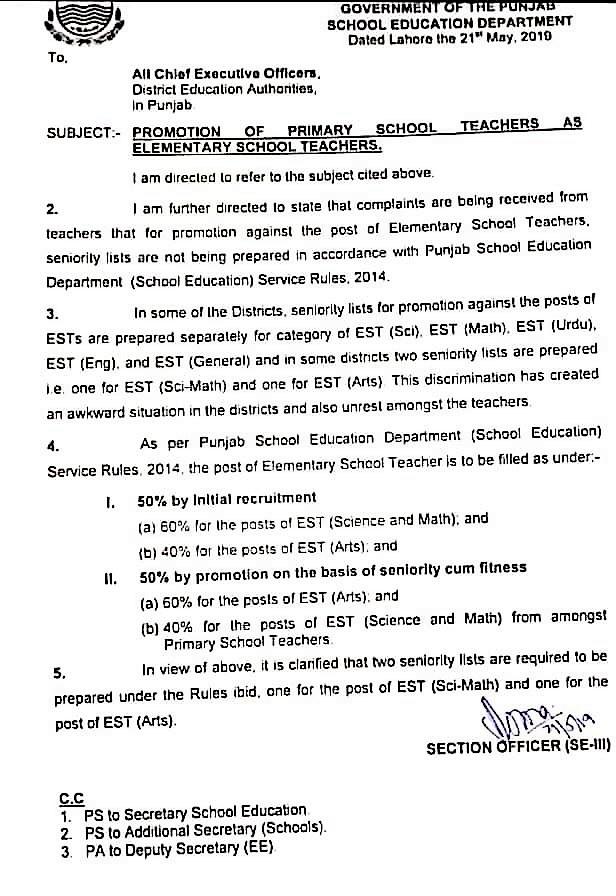 PROMOTION OF PRIMARY SCHOOL TEACHERS