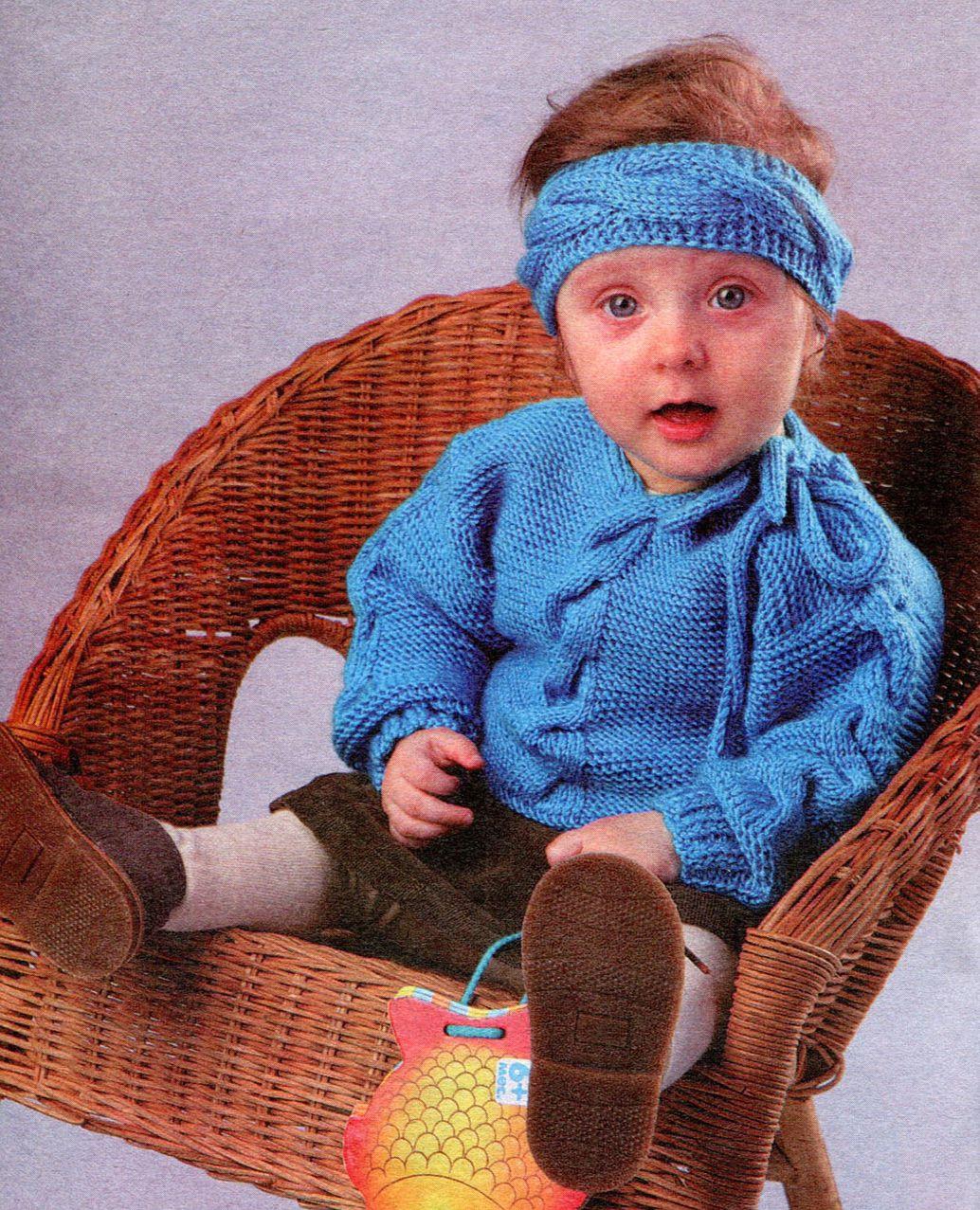 Вяжем детям: Бирюзовый вязаный комплект