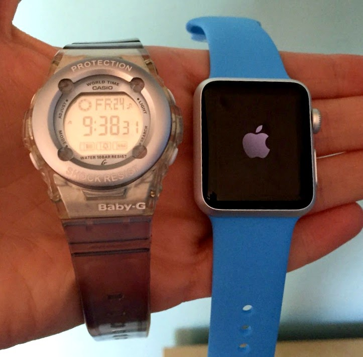 Morgan's Milieu | Apple Watch Sport Review: Apple Watch Sport next to a blue Baby-G sport watch