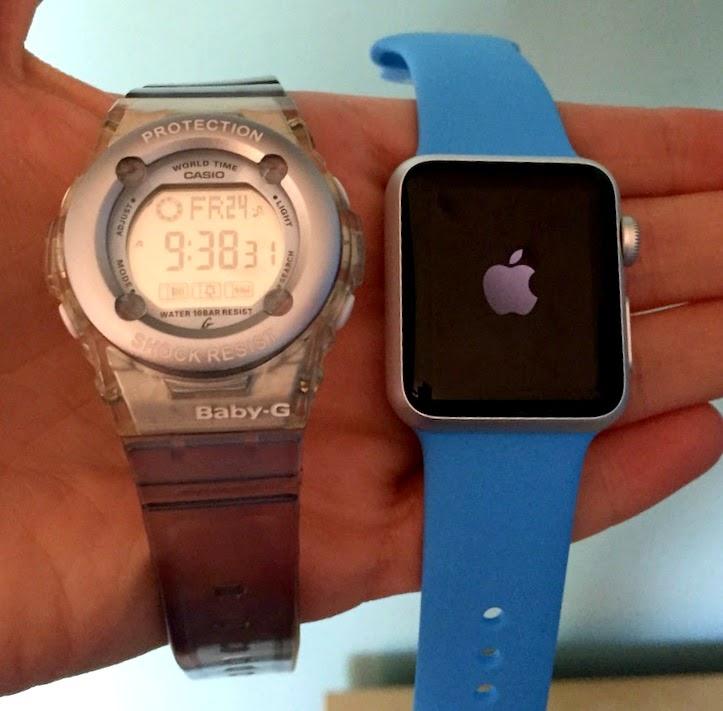 Morgan's Milieu | Apple Watch Sport Review: Apple Watch Sport next to a blue Baby-G sport watch