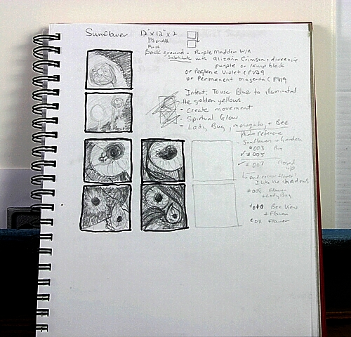 Sketch Book is a great place to warm up to painting ideas with thumbnail sketches and notes.