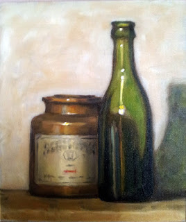 Oil painting of an antique green bottle beside an earthenware mustard pot.