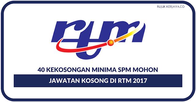 Jawatan Kosong Jabatan Penyiaran Malaysia (RTM) 13 Ogos 2017