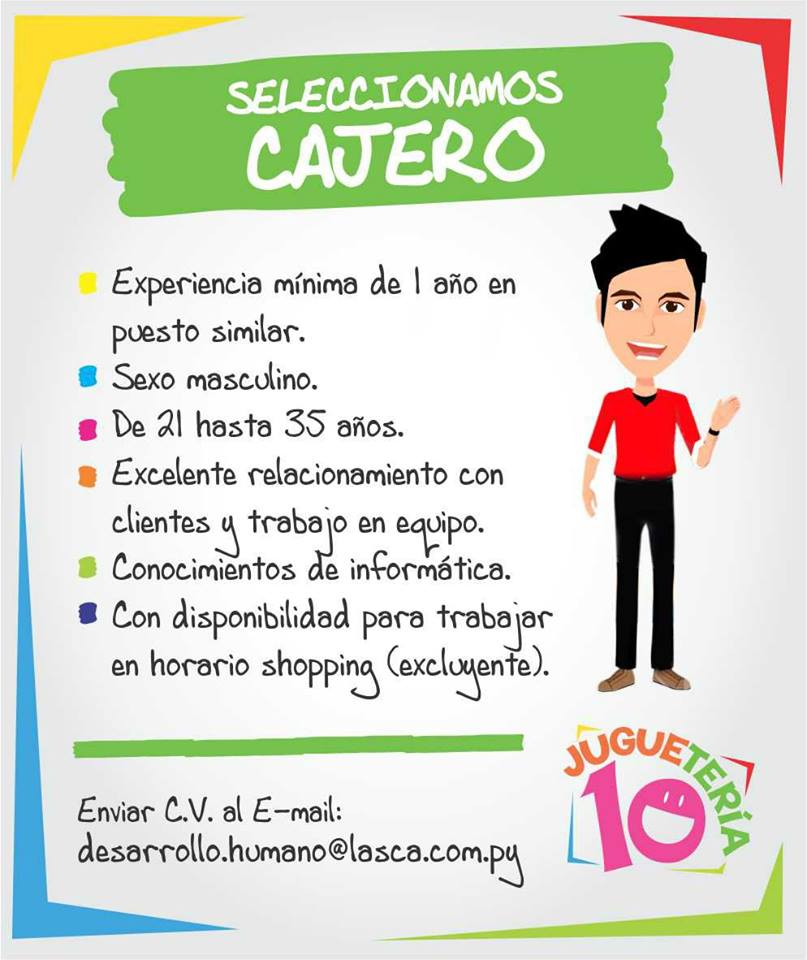 jugueter a 10 busca cajero bolsa de trabajo paraguay